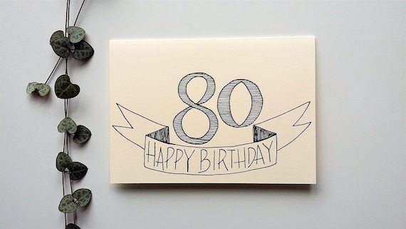 80th Birthday Card Happy Gender Neutral