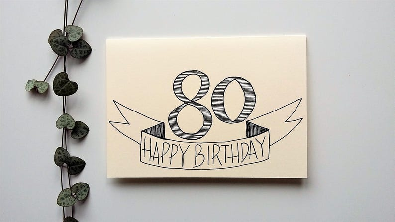 80th Birthday Card Happy Gender Neutral