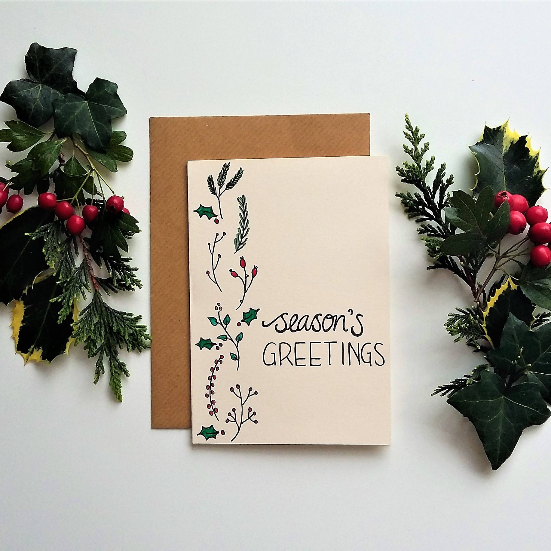Seasons greetings hand drawn christmas card m4hsunfo