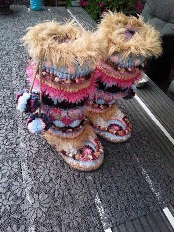 Gehaakte Funky Sloffen Funky Boots Dutch Patroonpattern Etsy