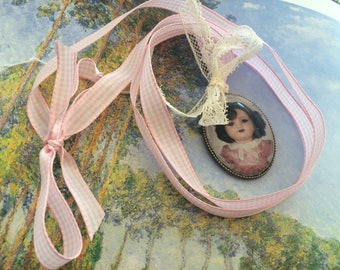 collar gingham porcelain doll