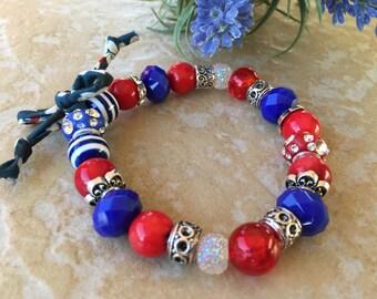 rhinestone red white blue bracelet