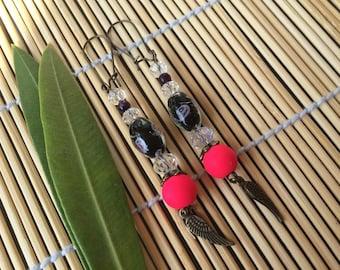 Pink neon earrings and bronze metal