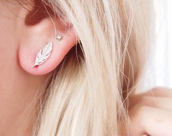Leaf earrings, silver feathers 925 - silver sterling earrings Jewelry