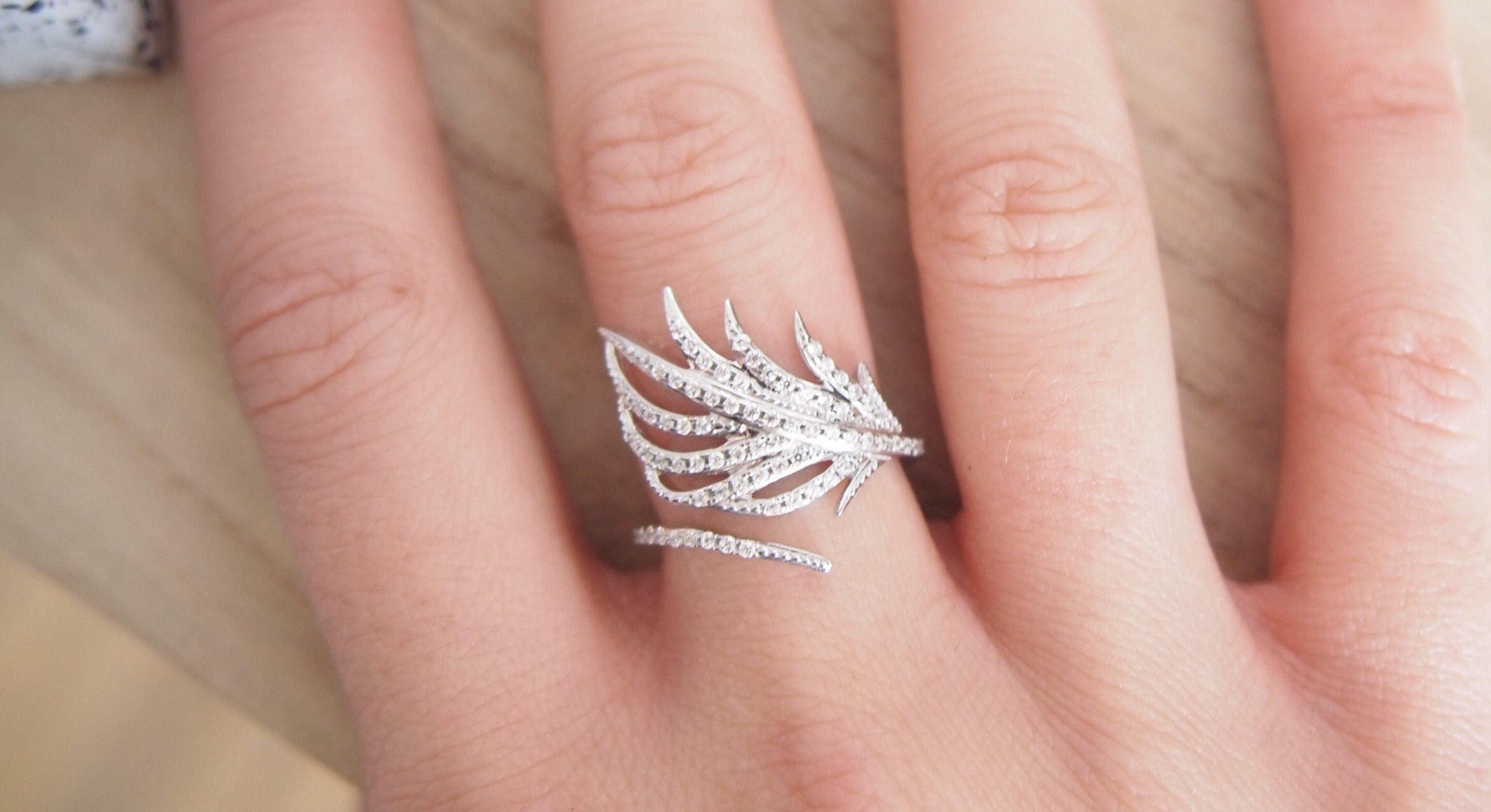 Leaf ring oxide of zirconium and Silver 925 sterling silver
