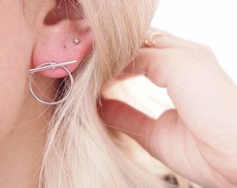 Earrings Silver 925 rings - hoop earrings - circle sterling silver / silver sterling earrings