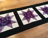 Modern quilted star table runner, purple black white table topper, star wall hanging, dresser runner, coffee table mat