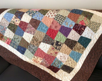 Fall lap quilt, small bed throw, tumbler block quilt, crib quilt, rich fall colors, table runner, picnic quilt