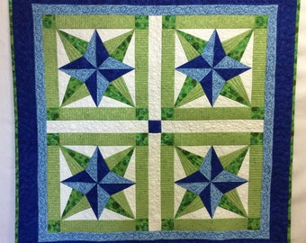 Star quilted wall hanging, blue green white, blazing star design, fabric wall art, wall decor, square table quilt topper, coffee table mat
