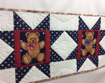 Patriotic quilted teddy bear table runner, red white blue teddy bear quilt, long bed runner, Independence Day gift, American flag quilt