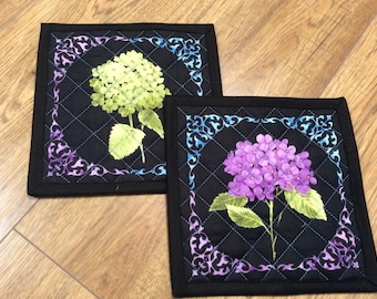 Hydrangea quilted pot holders, set of two fabric floral trivets, quilted black mauve mug rugs, floral quilted placemats, blue mauve green