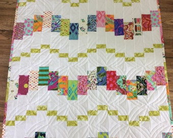 Modern small quilt, colorful crib quilt, modern baby quilt, shower gift, white green pink orange blue quilt, kids play mat, table topper