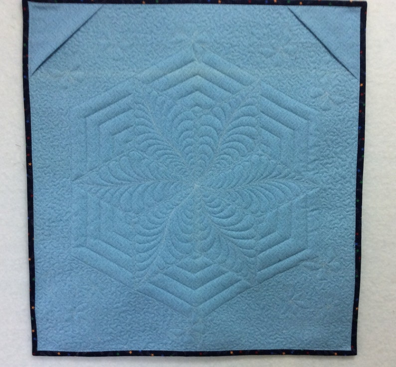 Star butterfly quilted wall hanging original design fibre wall art blue green quilted table topper appliqu\u00e9 floral butterfly quilt