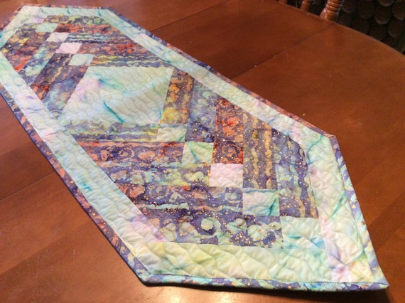 Quilted Table Runner in Coral Batiks