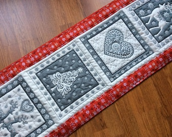 Nordic quilted Christmas table runner in red cream and grey, reindeer and hearts scandivanian design,Xmas coffee table runner, holiday  gift