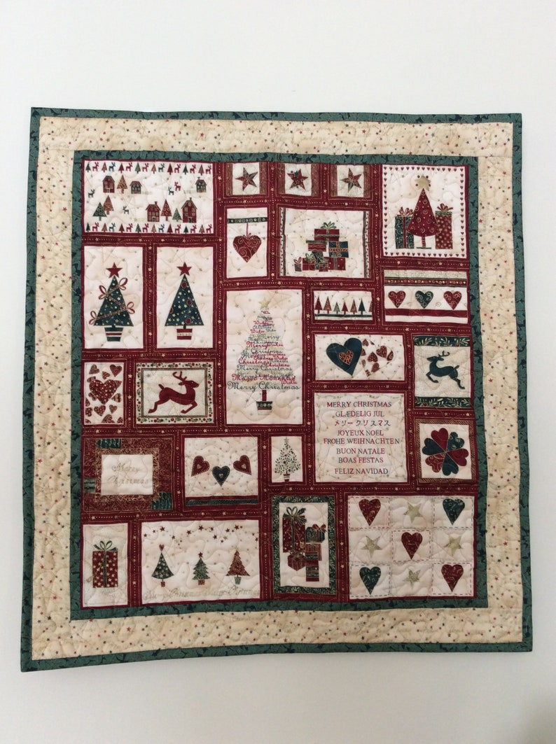 Quilted Christmas Wall Hanging Table Topper In Red Green Cream And Quilted With Gold Thread In Star Pattern Xmas Trees Reindeer And Hearts