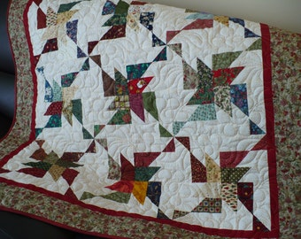 Scrappy Lap Quilt, throw, multi coloured blanket,burgundy accent cream background, picnic blanket, table topper, table decor. Crib quilt