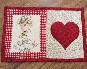 Quilted nurse mug rug coffee snack mat hospital theme placemat nurse valentine gift heart and stroke red hearts lLoralie nurse fabric