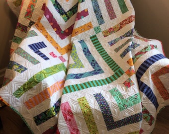 Modern Twin bed quilt, handmade, green blue pink white yellow aqua multi coloured quilt, colorful large lap quilt, small bed quilt