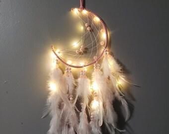 Light up Dream Catcher/Pink Dream Catcher/  Fairy Lights/ wall hanging/ nightlight