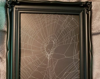 Real Orb Weaver preserved spider web, Gothic Wall hanging, Web Art, Gothic Frame, #2