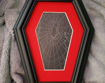 Real Orb Weaver preserved spider web, Coffin Frame Gothic Wall hanging, Web Art, Gothic Frame, #4