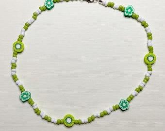 Kiwi Green Dot Changeable Bead Necklace