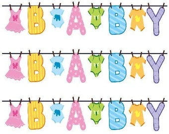 655d792ca Clothesline baby shower decorations