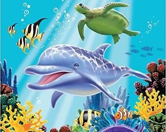 Ocean Scene Edible Cake Image Topper  Sheet