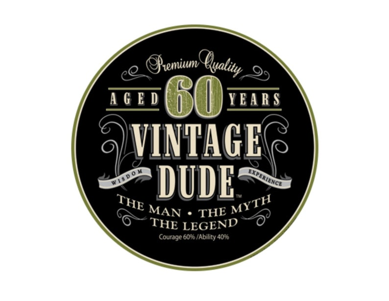 Vintage Dude 60th Birthday Edible Cake Or Cupcake Topper