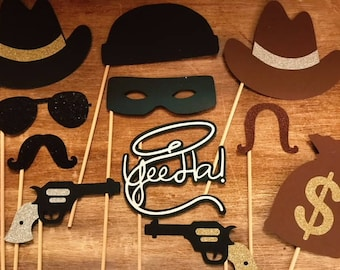 Cowboy Bandits Photo Booth; Wild West Photo Booth Props; Cowboys & Bandits; Photo Booth Props; Cowboys Props; Wild Wild West Props on stick