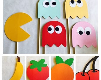 Pacman Photo Booth Props; Pac Man party props; Pacman Props on a stick