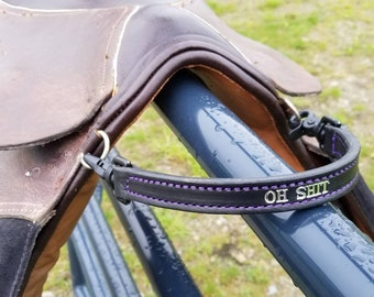 Custom Leather English Saddle Grab Strap Personalized Made to Order Horse Tack - Handle Grip for Balance/Training/Lessons/Beginners/Children