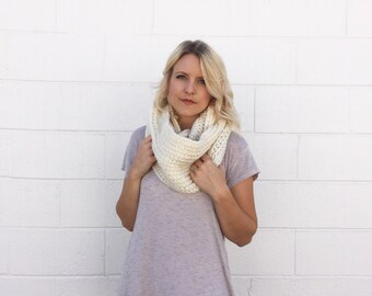 SALE 20% OFF - Crocheted / Knit Infinity Scarf - Cream-  Made to Order