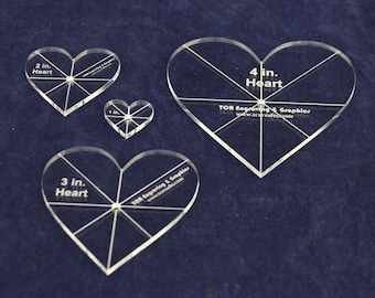 """Heart Template 4 Piece Set. 1,2,3,4 Inch - Clear 1/8"""" Thick w/ guidelines"""