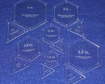 """Quilting Templates- 12 Piece Set Hexagon & Equilateral Triangles Acrylic 1/8"""""""