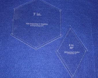 "Quilt Templates-2 Piece Specialty- Hexagon/Diamond Set -1/8""  ""Hexagon Star"""