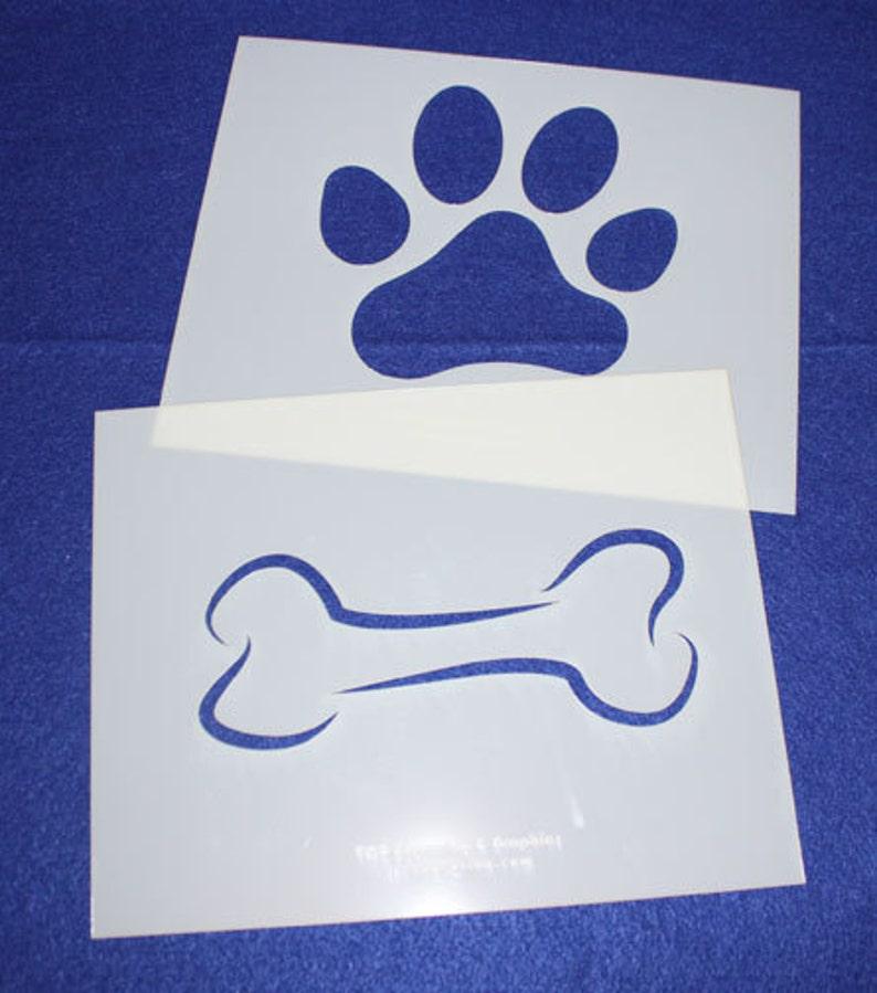 Quilting Mylar 14 Mil Dog Bone Paw Print LG Stencils Painting/Crafts