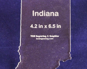 """State of Indiana  4.2"""" x 6.5"""" ~ 1/4"""" Quilt Template- Acrylic - Long Arm/Hand Sew"""