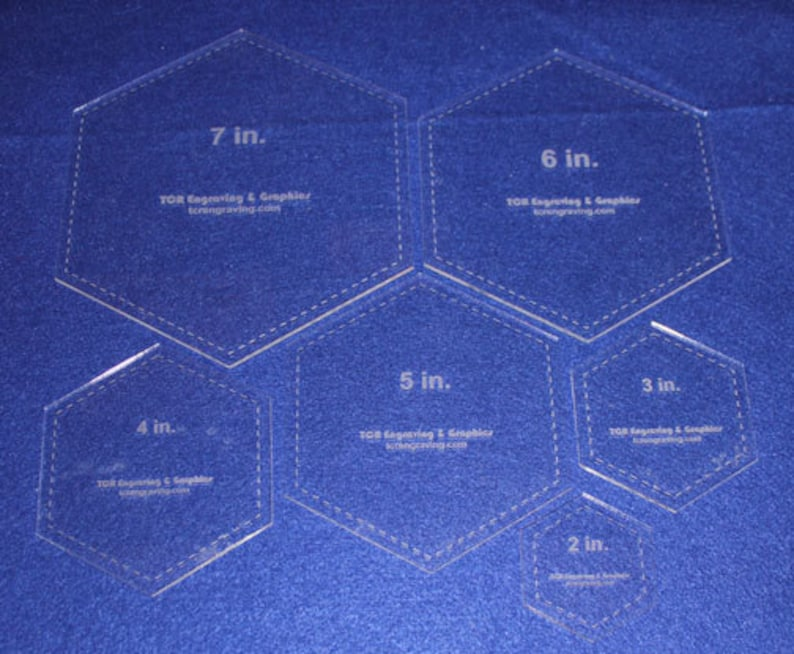 7 6 Piece Set Quilting Hexagon Template- 18  Clear Acrylic  2 3  4 5 6