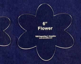 "Flower Set - 3 Pieces- 4"", 5"", 6"" - Clear Acrylic Templates"