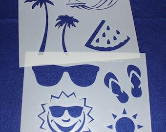 """2 Piece Summer Set  8"""" x 10"""" - Stencil-  14 Mil Mylar"""