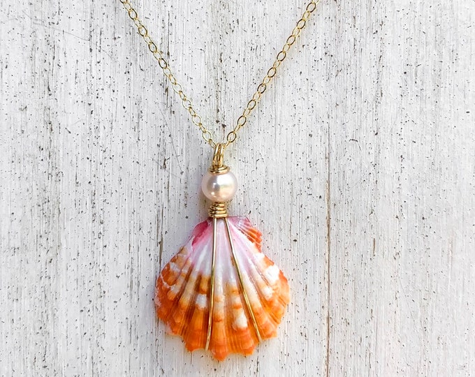 Red Orange and Pink Sunrise Shell/14k Gold Filled