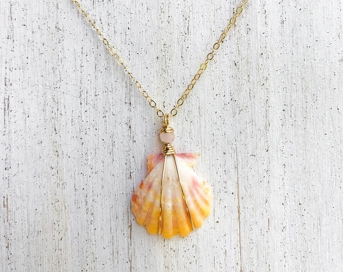Yellow and Pink Sunrise Shell/14k Gold Filled