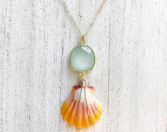 Seafoam Chalcedony x Sunrise Shell Necklace