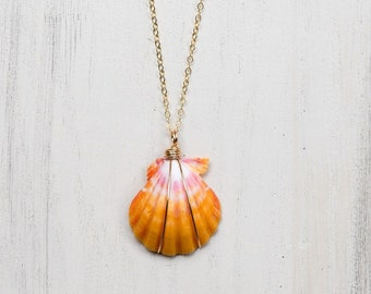 """Traditional Pink and Yellow Sunrise Shell/14k Gold Filled/18"""""""