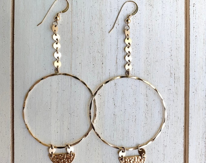 Hammered Gold Filled Coin Hoops
