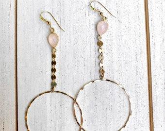 Rose Quartz Coin Hoop Earrings/14k Gold Filled