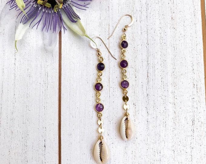 Cowrie x Amethyst Gemstone Drop Earrings/14k Gold Filled