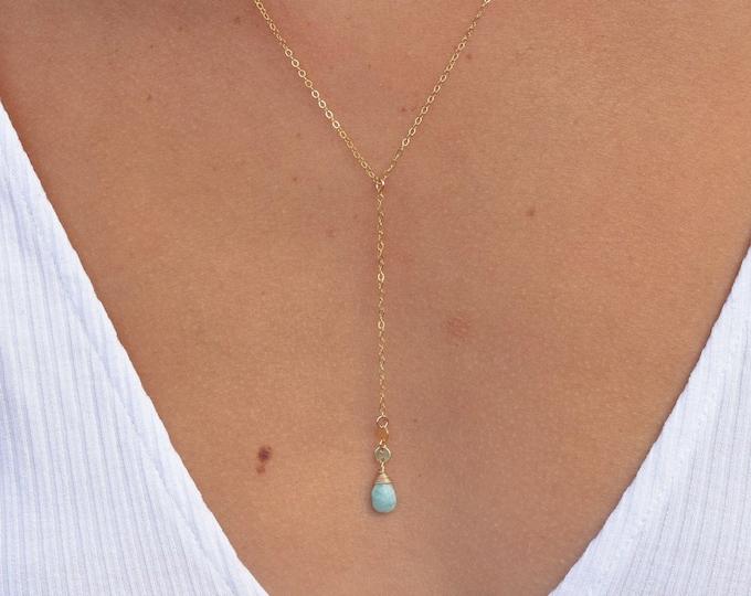 Amazonite Lariat Necklace/14k Gold Filled
